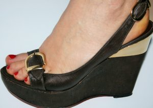 Platform High-Heeled Sandal brown-gold-colored