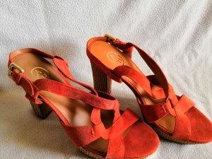 ASH Sandalo alto con plateau albicocca-arancione scuro Pelle