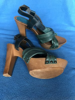 Benetton Platform High-Heeled Sandal cadet blue