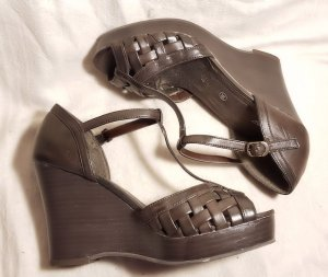 Heine Wedge Sandals dark brown imitation leather
