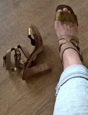 Marc O'Polo Platform High-Heeled Sandal brown-gold-colored leather