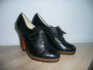 Plateau Schnür-Pumps High Heel Ankle Boots Leder Schwarz Gr 40