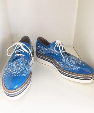 Donna Piu Zapatos estilo Oxford azul neón Cuero