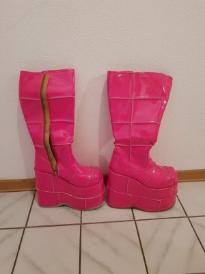 Demonia Gothic Boots neon pink imitation leather