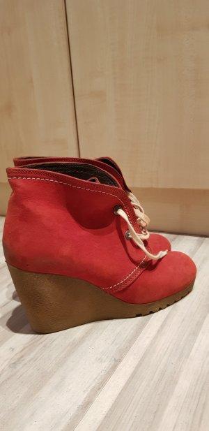 Plateau Schuhe rotes Leder