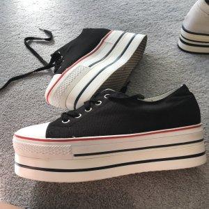 Plateau Sneaker 6 cm Stoff schwarz  Grösse 37 - in gutem Zustand