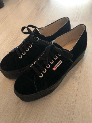 Superga Basket à lacet noir-argenté