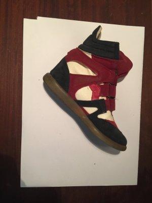 Plateau Sneaker Wedges in Blau und Weiss und Rot