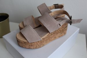 Sandalo con plateau beige-rosa antico
