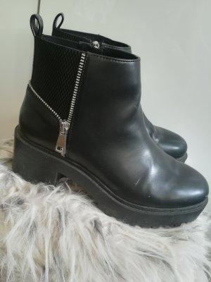 Bershka Botas altas negro-color plata