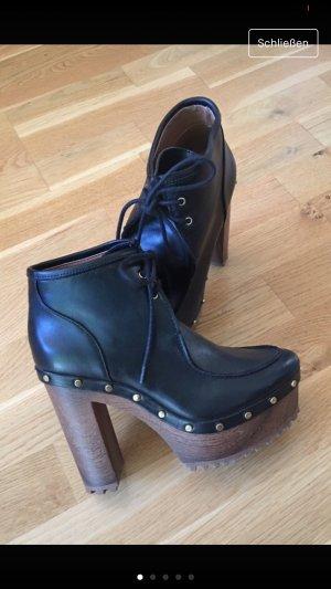 H&M Bottines à plateforme noir-marron clair