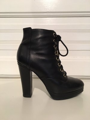 H&M Platform Booties black-gold-colored leather