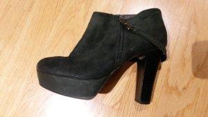 Alba Moda Platform Booties dark green leather