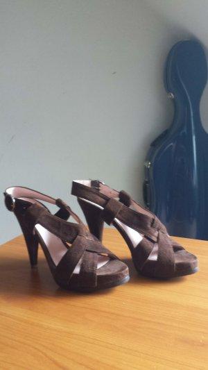Sandales à talons hauts et plateforme brun foncé daim