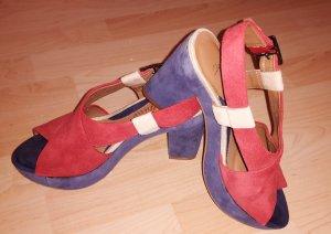 Clarks Platform High-Heeled Sandal red-blue