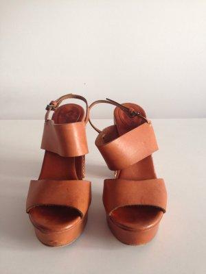 Chloé Sandales à plateforme cognac cuir