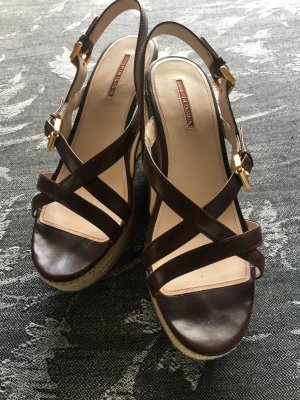 Prada Platform High-Heeled Sandal brown leather