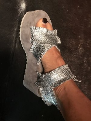 Kennel + schmenger Platform High-Heeled Sandal silver-colored leather