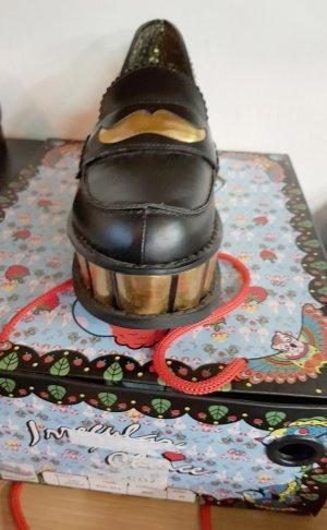 Irregular choice Escarpin à plateforme noir-doré cuir