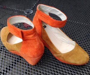 Plateauschuhe - Slingpumps in ocker-orange