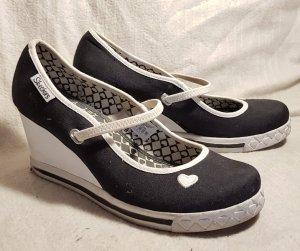 Skechers Tacones Mary Jane negro-blanco fibra textil