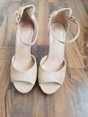 Sandales à talons hauts et plateforme crème-beige clair faux cuir