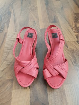 Wedge Sandals brown-salmon leather