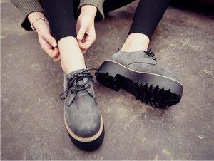 Platform Schuhe Retro Style grau