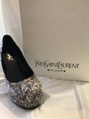 Yves Saint Laurent Plateauzool pumps wit-zwart