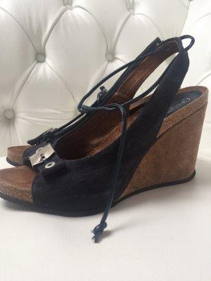 Scholl Plateauzool sandalen donkerblauw Leer