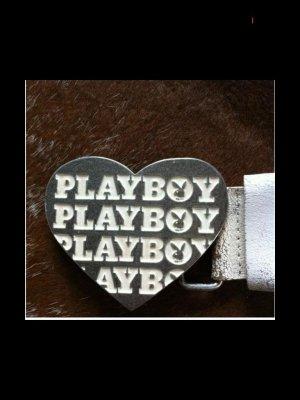 Playboy Damen Gürtel Herz Weiß Used Look Echtes Leder