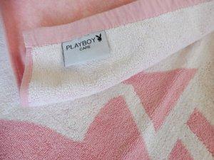 PLAYBOY Strandtuch Strandlaken Bunny Rosa, Weiß, 100x180cm