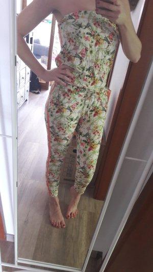 Playsuit bunt Jumpsuit von Pull&Bear Floral Neon Onepiece Anzug Einteiler