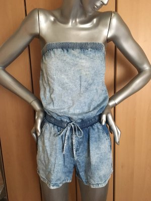 Playsuit Denim kurze Jumpsuit trägerlos Gr. 36