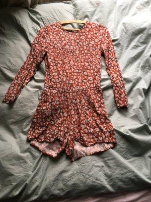 Playsuit hotpants Anzug Einteiler Mini orange Muster langarm