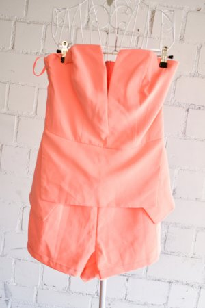 Playsuit in Neon Orange Coral