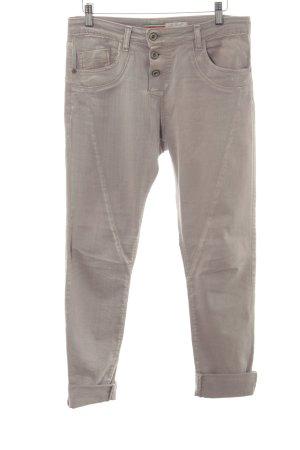 Please Jeans a 7/8 grigio chiaro puntinato stile casual