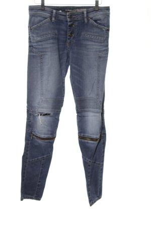 Please Biker jeans blauw casual uitstraling