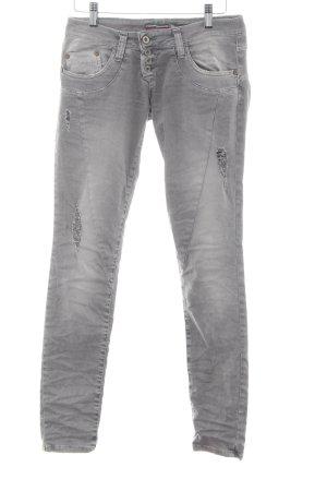 Please Biker jeans lichtgrijs casual uitstraling