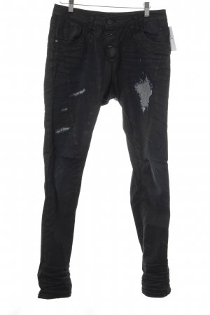 Please Jeans de moto noir style mode des rues