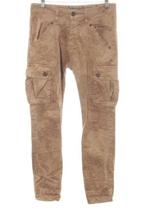 Please Pantalon boyfriend brun-blanc cassé motif de fleur style décontracté