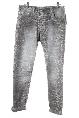 Please Boyfriendhose grau-hellgrau Animalmuster Street-Fashion-Look