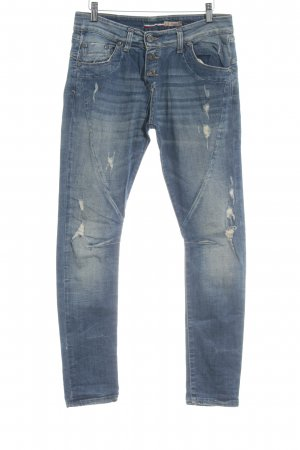 Please Boyfriendjeans stahlblau-blau Destroy-Optik