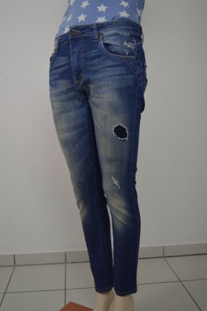 Please Damen Jeans + S + Vintage Glam blau + Boyfriend destroyed Look