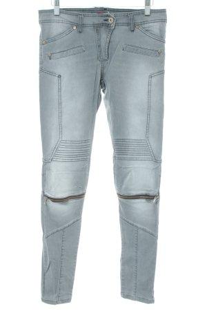 PLEASE Denim Biker Jeans silver-colored casual look