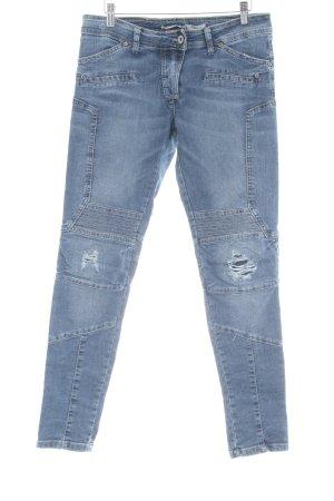 PLEASE Denim Hoge taille jeans staalblauw Biker-look