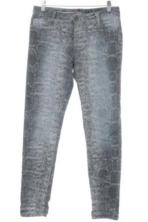 PLEASE Denim Skinny Jeans dark grey-grey animal pattern casual look