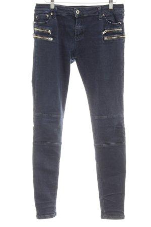 PLEASE Denim Skinny Jeans goldfarben-dunkelblau schlichter Stil