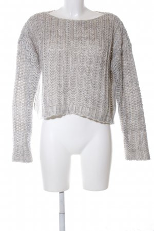Please Grobstrickpullover hellgrau Zopfmuster Casual-Look