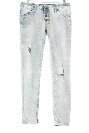 Please Jeans taille haute bleu azur-crème style déchiré